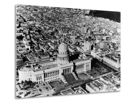 Aerial View of Havana Shows the Capitol with its Formal Gardens and Public Square in the Foreground--Metal Print