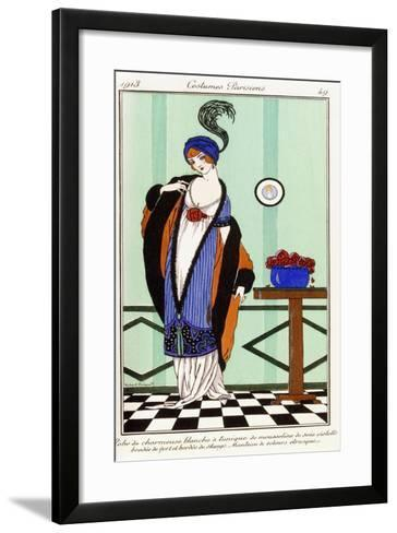 Parisian Clothing: White Charmeuse Robe with Violet Embroidered Silk Tunic, 1913-Robert Pichenot-Framed Art Print