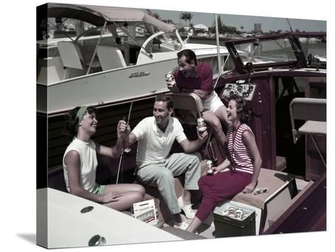Who Needs to Leave the Dock When There's Beer on Board? the Boaters' Beverage--Stretched Canvas Print