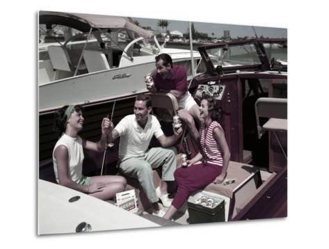 Who Needs to Leave the Dock When There's Beer on Board? the Boaters' Beverage--Metal Print
