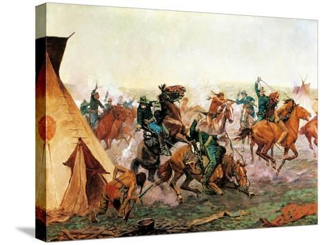 Attack of Seventh Cavalry Commanded by General Custer at Cheyenne Camp on Washita River at Dawn--Stretched Canvas Print