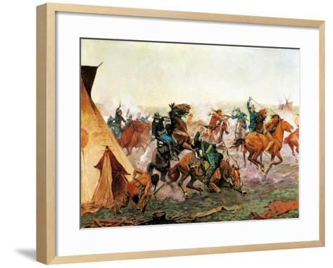 Attack of Seventh Cavalry Commanded by General Custer at Cheyenne Camp on Washita River at Dawn--Framed Art Print