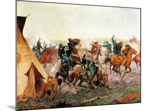 Attack of Seventh Cavalry Commanded by General Custer at Cheyenne Camp on Washita River at Dawn--Mounted Giclee Print