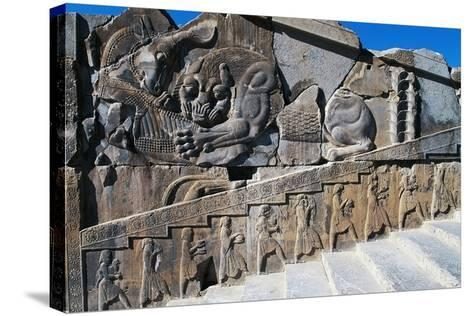 Bas-Relief of Servants Carrying Gifts for King's Banquet Surmounted by Zoomorphic Relief--Stretched Canvas Print