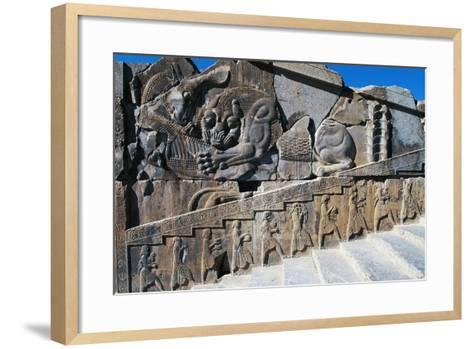 Bas-Relief of Servants Carrying Gifts for King's Banquet Surmounted by Zoomorphic Relief--Framed Art Print