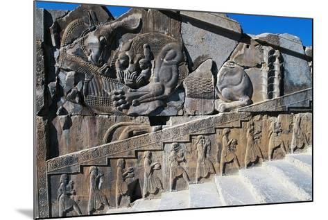 Bas-Relief of Servants Carrying Gifts for King's Banquet Surmounted by Zoomorphic Relief--Mounted Photographic Print