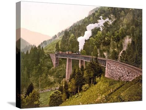 Train Crossing the Ravenna Viaduct of the Hollental Railway in the Ravenna Gorge--Stretched Canvas Print