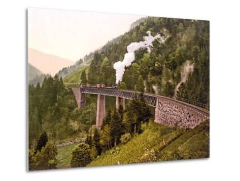 Train Crossing the Ravenna Viaduct of the Hollental Railway in the Ravenna Gorge--Metal Print