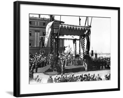 A 'Molebin' During the Inauguration of the Troitsky Bridge across the River Neva--Framed Art Print
