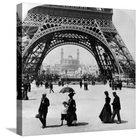 Looking Through the Base of the Eiffel Tower to the Trocadero and Colonial Station--Stretched Canvas Print