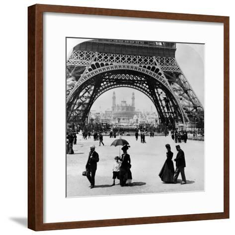 Looking Through the Base of the Eiffel Tower to the Trocadero and Colonial Station--Framed Art Print