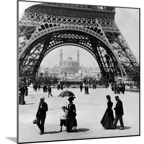 Looking Through the Base of the Eiffel Tower to the Trocadero and Colonial Station--Mounted Photographic Print