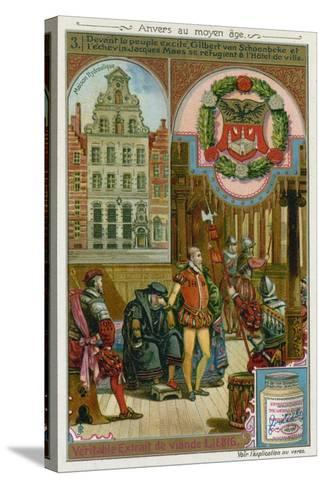 Gilbert Van Schoonbeke and Pensionary Jacob Maes Take Refuge from the Populace in the City Hall--Stretched Canvas Print