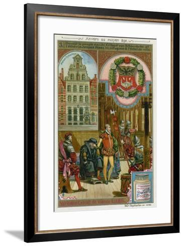 Gilbert Van Schoonbeke and Pensionary Jacob Maes Take Refuge from the Populace in the City Hall--Framed Art Print