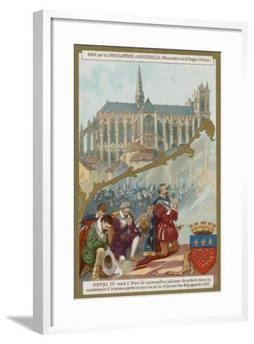 Henry IV of France Praying in Amiens Cathedral after the Recapture of the City from the Spanish--Framed Art Print