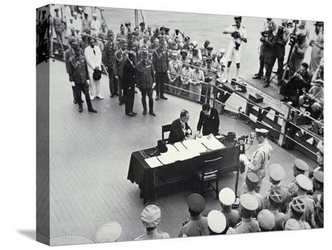 General Macarthur Reads Out the Terms of Surrender to Japanese Officials on Board the USS Missouri--Stretched Canvas Print