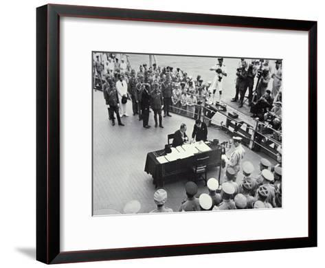 General Macarthur Reads Out the Terms of Surrender to Japanese Officials on Board the USS Missouri--Framed Art Print