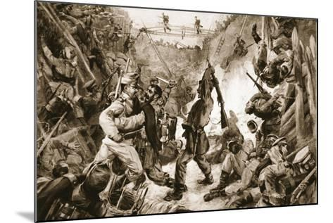 An Episode in the Long Struggle for Przemysl: Hand-To-Hand Fighting in a Trench--Mounted Giclee Print