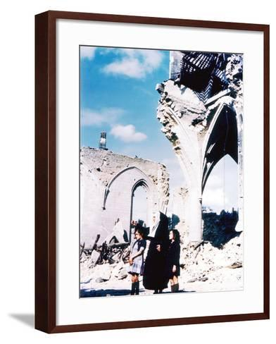 A Catholic Nun and Two Women with Children Standing in Front of the Ruins of Eglise Saint-Malo--Framed Art Print