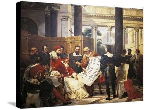 Pope Julius II Ordering Bramante Michelangelo and Raphael to Construct Vatican and St. Peter'S--Stretched Canvas Print
