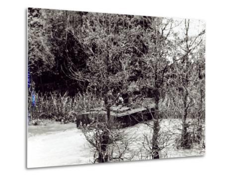 A River Patrol Boat Beaches to Land a Us Navy Seal Team in the Jungle to Hunt Viet Cong--Metal Print