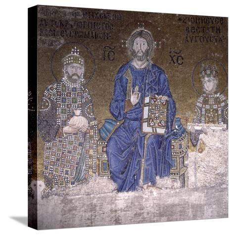 Mosaic Depicting Christ on Throne with Empress Zoe and Right to Her Third Husband--Stretched Canvas Print