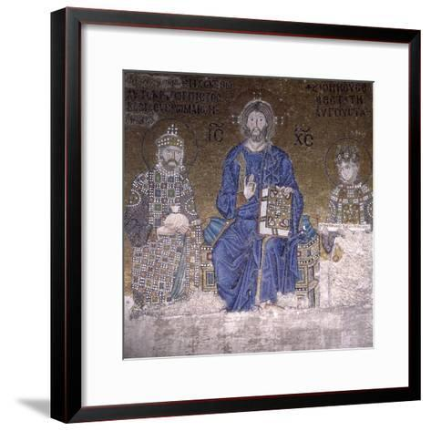 Mosaic Depicting Christ on Throne with Empress Zoe and Right to Her Third Husband--Framed Art Print
