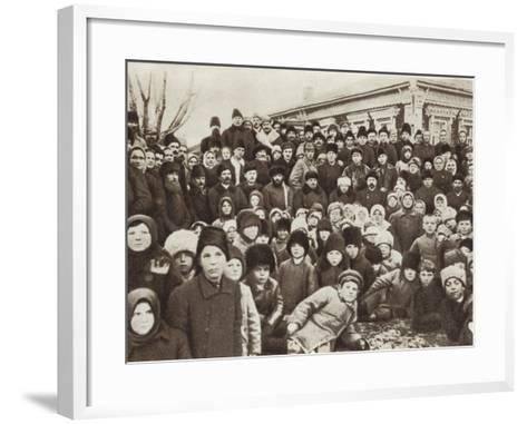 Lenin and Krupskaya Among Peasants at the Opening of the Kashino Electric Power Station--Framed Art Print