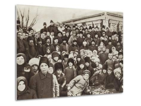 Lenin and Krupskaya Among Peasants at the Opening of the Kashino Electric Power Station--Metal Print