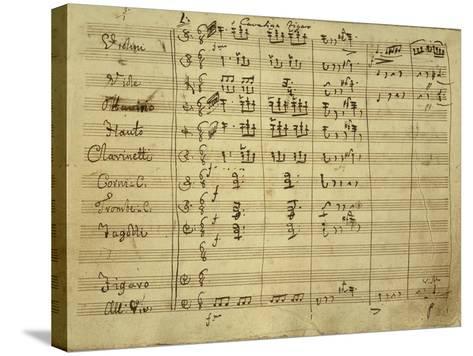 Italy, Bologna, Autograph Score, Figaro's Cavatina for Opera Il Barbiere Di Siviglia--Stretched Canvas Print