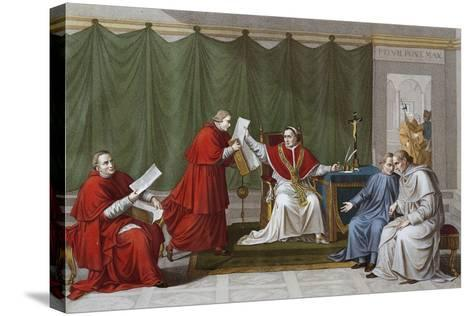 Pope Pius VII Delivering Agreement Reached Between Holy See and French Government--Stretched Canvas Print