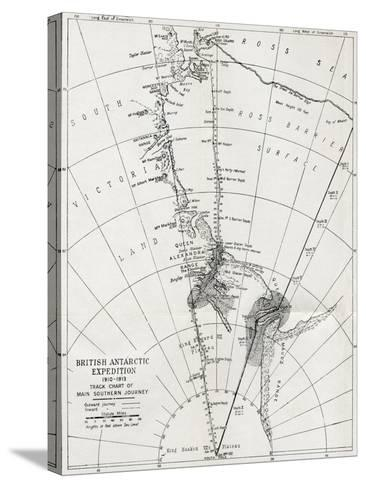 Track Chart of the Main Southern Journey of Robert Falcon Scott's Terra Nova Expedition--Stretched Canvas Print