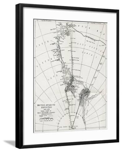 Track Chart of the Main Southern Journey of Robert Falcon Scott's Terra Nova Expedition--Framed Art Print