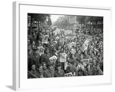 "American Servicemen and Women Gather in Front of ""Rainbow Corner"" Red Cross Club in Paris--Framed Art Print"
