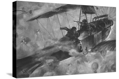The German Airmen as their Countrymen Like to See Them: a Battle Royal in Mid-Air--Stretched Canvas Print