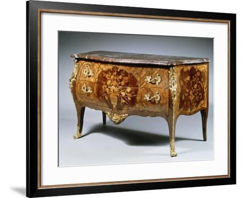 Louis XV Style Chest of Drawers with Madagascar Rosewood and Amaranth Inlays and Gilt Bronzes--Framed Art Print