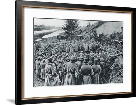 German Soldiers Attending a Divine Service on the Banks of the Aisne Canal During World War I--Framed Art Print