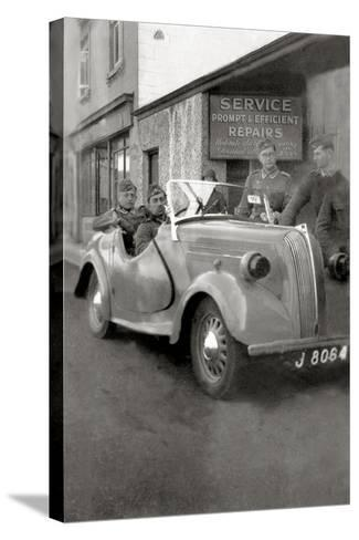 A Group of German Soldiers with a Standard Eight Car with a License Plate of Jersey--Stretched Canvas Print