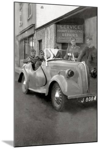 A Group of German Soldiers with a Standard Eight Car with a License Plate of Jersey--Mounted Photographic Print
