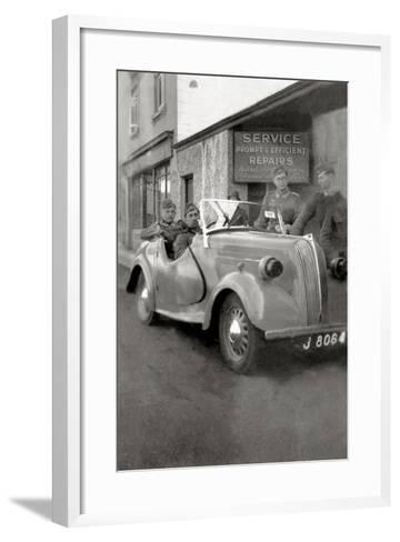 A Group of German Soldiers with a Standard Eight Car with a License Plate of Jersey--Framed Art Print