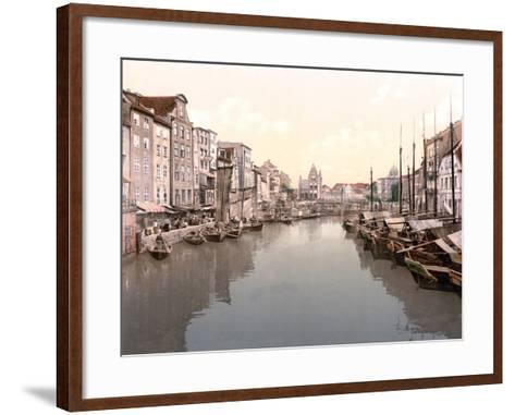 View Down Canal in Konigsberg with Market on Left and Fishing Boats Moored on Right--Framed Art Print