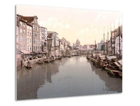 View Down Canal in Konigsberg with Market on Left and Fishing Boats Moored on Right--Metal Print