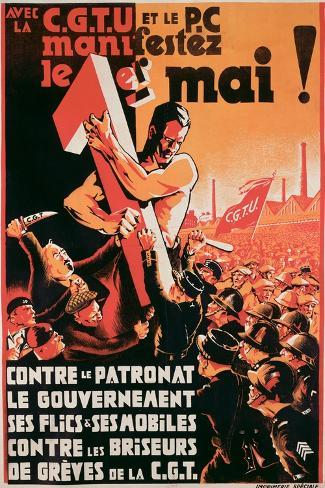 Poster Advertising a 1st May Demonstration by the C.G.T.U. and the P.C. Against Employers--Stretched Canvas Print