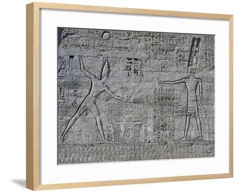 Ramesses III Celebrating His Victories over Sea Peoples in Front of Amon--Framed Art Print