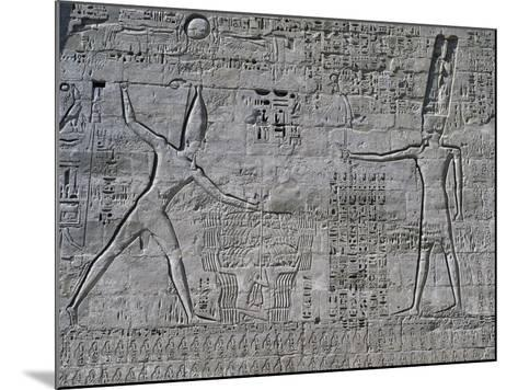 Ramesses III Celebrating His Victories over Sea Peoples in Front of Amon--Mounted Photographic Print
