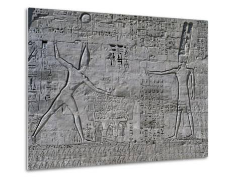 Ramesses III Celebrating His Victories over Sea Peoples in Front of Amon--Metal Print