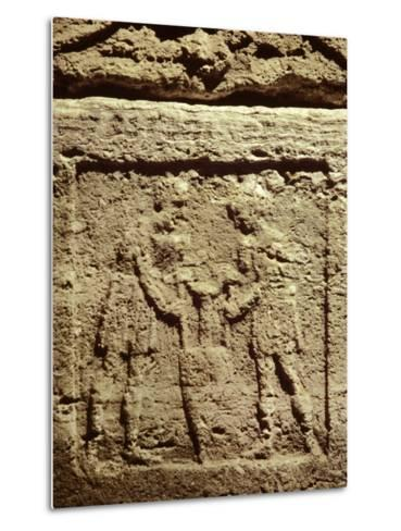 Cinerary Urn with Relief Depicting Two Servants with a Wine Amphora--Metal Print
