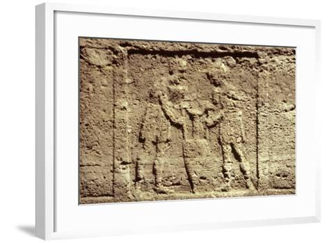 Cinerary Urn with Relief Depicting Two Servants with a Wine Amphora--Framed Art Print