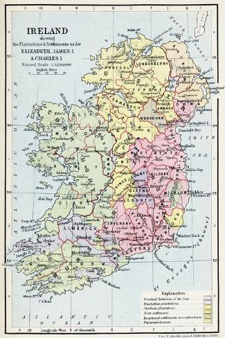 Map of Ireland Showing the Plantations and Settlements under Elizabeth--Stretched Canvas Print