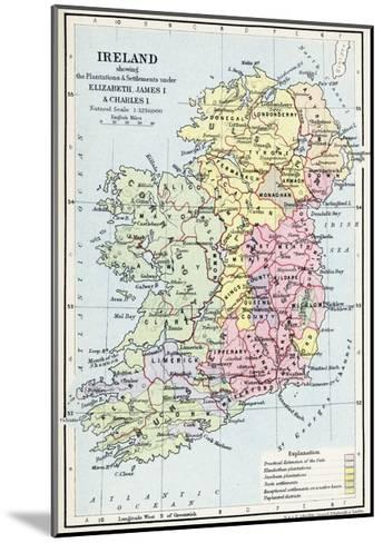 Map of Ireland Showing the Plantations and Settlements under Elizabeth--Mounted Giclee Print